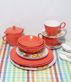 Tangerine and Flowers Set for Two  Melmac by Lifeinmommatone, $40.00