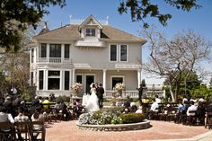 Wedding Ceremony in front of the Kellogg House at the Heritage Museum of Orange County - Photo by Pablo Serrano