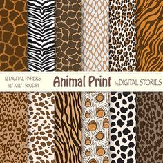 Popular items for animal print giraffe on Etsy Animal Print Wallpaper, Animal Print Rug, Textile Patterns, Print Patterns, Retro Poster, Retro Print, Peacock Pattern, Digital Scrapbook Paper, Digital Papers