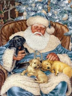 Diamond Painting - Napping Santa - Floating Styles - Diamond Embroidery - Paint With Diamond - free worldwide shipping. We also offer tools like lighting pad, diamond painting kits including quick painting pens. Create Your Own Paint With Diamonds now! Father Christmas, Blue Christmas, Christmas Dog, Christmas Holidays, Happy Holidays, Merry Christmas, Illustration Noel, Christmas Illustration, Illustrations