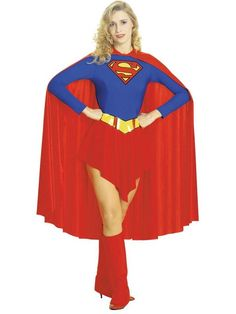 Ladies traditional style Supergirl costume. Contains leotard with attached skirt and belt, red cape and boot covers. Available in small 8-10; medium 10-12; large 14-16.Colour: Multi. Polyester, exclusive of trims. Sponge clean only.