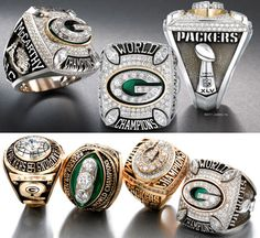 The four Super Bowl Championship rings of the Green Bay Packers. There's only four rings because we were winning Championships before the Super Bowl was even around!