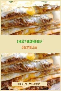 CHEESY GROUND BEEF QUESADILLAS Mexican Dishes, Mexican Food Recipes, Beef Recipes, Cooking Recipes, Mexican Meals, Supper Recipes, Appetizer Recipes, Appetizers, Party