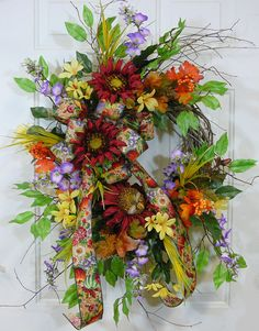 Charming Outdoor Wreath with Red Purple and by LadybugWreaths, $169.97