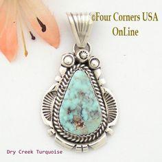 Four Corners USA Online - Dry Creek Turquoise Sterling Pendant Navajo Artisan Harry Spencer NAP-1543, $105.00 (http://stores.fourcornersusaonline.com/dry-creek-turquoise-sterling-pendant-navajo-artisan-harry-spencer-nap-1543/)