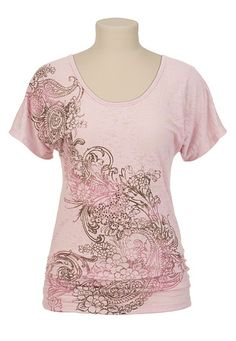 Studded Paisley Print Burnout Tee available at #Maurices