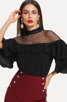 a91bc4853284e Black Elegant Stand Collar Dot Mesh Insert Keyhole Flounce Sleeve Blouse -  Black   XS. Vintage TopsRetro VintageRuffle ...
