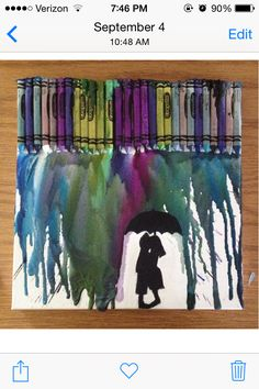 I made this crayon art for my boyfriend as a gift for our 2 year Anniversary. It helps remind him that even when things are raining down on us, if we stay together, we can get through any storm. -K.Erickson