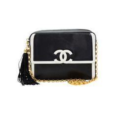 Pre-Owned Vintage Chanel Black x White Leather Fringe Shoulder Pochette Bag