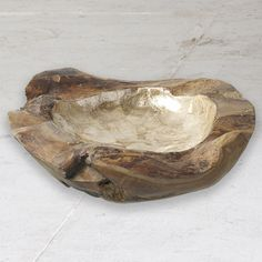 #natural #gilded #solid #teak #bowl