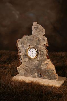 Custom Made Clock In California Buckeye Burl On Travertine Buckeye Burl, Wood Slab, Travertine, Wood Watch, Wood Projects, Woodworking, Clock, Victorian, Carving