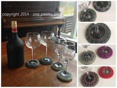 PDF Pattern - Crochet Wine Glass Coasters, 4 Different Designs