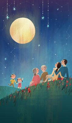 Here's an illustration job I did for state farm's celebration of Chinese moon festival. Family Illustration, Digital Illustration, Joey Chou, Illustrations And Posters, Stars And Moon, Fantasy Art, Concept Art, Art Projects, Animation