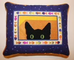 Peek A Boo Kitty canvas by EyeCandy, stitch guide by Susan Portra