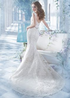 Deep V Neck #Lace Pattenrs Mermaid Wedding Dress with Crystal Brooch