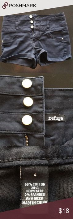 "Refuge Black High Waisted Shorts Size 4. Worn a handful of times. Has no rips stains or holes. Measurements: waist 28"" Top to Hem 10"". Comes from a smoke/pet free home. refuge Shorts"