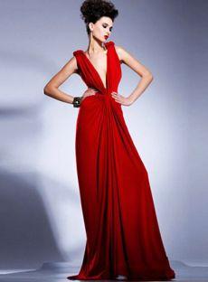 Amazing A-line V-neck Floor-length Chiffon Ruffles Red Evening Dresses