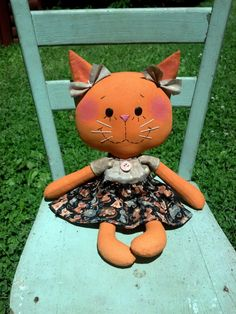 Raggedy Kitty cat rag doll by MeffyAnnies on Etsy, $22.00