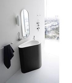 fish decor for bathroom - Internal Home Design Black And White Tiles Bathroom, Modern Bathroom Tile, Bathroom Interior Design, Small Bathroom, Bathroom Sinks, Bathroom Furniture, Modern Bathrooms, Home Design, Design Ideas