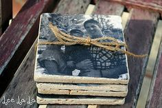 DIY photo coasters -- these don't look too hard to do and i think they would make cool christmas presents!