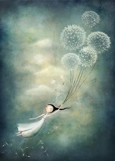 girl floating with dandelion puffs Fairy Art, Heart Art, Whimsical Art, Art Plastique, Surreal Art, Beautiful Paintings, Belle Photo, Cute Drawings, Art Pictures