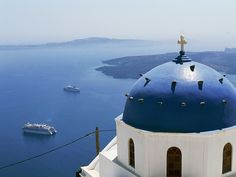 The Santorini to Cap Number of Cruise Ship Visitors The popular Greek island is the latest destination asking guests to stay home. Santorini Island, Santorini Greece, Greek Islands, Trip Planning, Taj Mahal, Cruise, Ship, Places, Photography