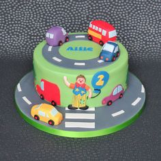 Mr Tumble Transport Cake, cars, busses and trucks. Childrens birthday cake. Pam Bakes Cakes, pambakescakes
