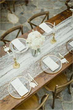 rustic patio reception with gold details