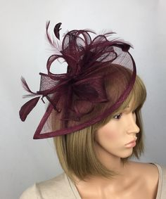 Excited to share this item from my shop: Dark Burgundy Wine Fascinator Maroon Hat Claret Occasion Wedding Fascinator Mother of the Bride Groom Ladies Day Ascot Racecs Hatinator Burgundy Fascinator, Green Fascinator, Fascinator Hats, Navy Wedding Hat, Burgundy Wedding, Wedding Attire, Ascot Ladies Day, Wedding Frocks, Occasion Hats