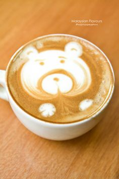 Cappuccino came in bear shape latte art at Cafe Olle #coffee #coffeeart #cappuccino #cafe #malaysiacoffee