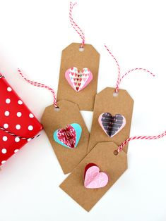 Simple Paper Heart Tags: With only a craft punch and some glue, you can easily whip us these three dimensional heart gift tags. Valentine Crafts, Valentines, Valentine Ideas, Holiday Crafts, Craft Punches, Gifts Under 10, Heart Decorations, Pretty Packaging, 3d Paper