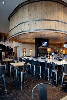 White Oak Kitchen & Cocktails, designed by Square Feet Studio Cocktail Restaurant, Restaurant Design, Restaurant Bar, White Oak Kitchen, Open Kitchen, Atlanta Usa, Office Entrance, Wine Tasting Room, Travel Channel