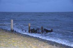 Vloed met harde wind, Waddenzee Oosterbierum