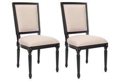 Beige/Black Donnelly Side Chairs, Pair $349