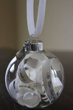 Just in time for Girls X-Mas Homemade ornament -- this person used strips of copy from her wedding invitations. I'd love to do this with our wedding vows! Diy Wedding Gifts, Wedding Favors, Our Wedding, Wedding Decorations, Wedding Ideas, Dream Wedding, Wedding Stuff, Wedding Crafts, Wedding Things