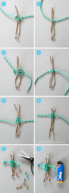 Knyt roliga nyckelringarAtt knyta gubbar av tjocka knytsnören/nylonsnören, s k Paracord, går på ett kick och de är riktigt söta att använda som nyckelringar eller som dekoration på...
