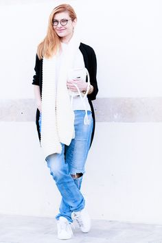February 2015: EdgyCuts Zara ripped jeans with patch, long cardigan, long structured scarf, and white Adidas Originals sneakers