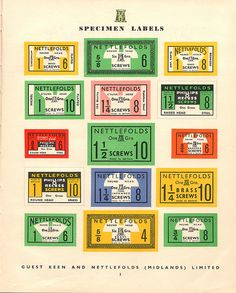 Guest Keen Nettlefolds of Birmingham - Nettlefords screw box labels, c1953