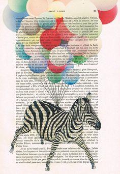 Flying zebra Original Illustration Mixed Media by Cocodeparis, $10.00