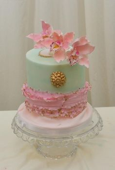 Teal, Pink and Gold with Orchids - Cake by Sugarpixy Orchid Wedding Cake, Orchid Cake, Wedding Cakes, Teal Cake, Gold Cake, Mint Green Cakes, One Tier Cake, Shabby Chic Cakes, Cake Decorating Courses