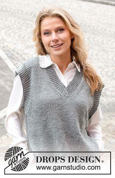 Knitting Patterns Free, Knit Patterns, Free Knitting, Drops Design, Thing 1, Vest Pattern, Crochet Diagram, Work Tops, Knit Vest