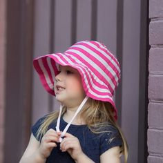 Pink Striped Wide Brim Bucket Sun Hat For Baby and Toddler Girls Baby Sun Hat, Baby Hats, Baby Design, Sun Hats, Toddler Girls, Bucket, Pink, Collection, Fashion