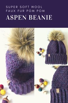 THE ASPEN Beanie in Purple blend Don't get caught out in the cold with out Your Aspen Beanie! This hat is made of 100% super soft wool. It will keep your bean toasty warm on the blustery winter days! Hand crocheted in a basket stitch. #winterhat #knithat #beanie #winterstyle #ad