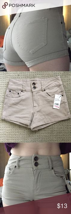 Dollhouse Tan Beige Shorts High Waist Stretchy cuffed cuff shorts high waist Tan beige shorts size 3 but fits like 0/1  Retail $34 See my other items, I also have a lot of tan, white and black for size 0/1 or white, black and navy that fits size 0 Dollhouse Shorts