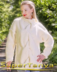 Made to order hand knitted alpaca sweater in cream by supertanya