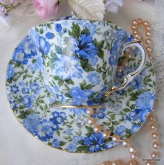 Shabby Chintz Blue Porcelain Teacup Saucer Set