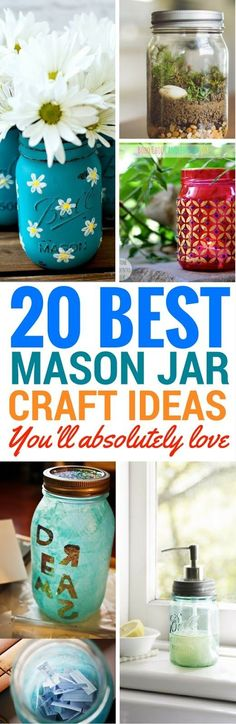 20 Amazing DIY Mason Jar Projects You'll Want To Do 20 Amazing DIY Mason Jar Projects for your home decor or to gift someone. These are a collection of amazing mason jar crafts that look really great! Diy Home Decor Projects, Arts And Crafts Projects, Diy And Crafts, Mason Jar Gifts, Mason Jar Diy, Pots, Mason Jar Projects, Diy Hanging Shelves, Mason Jar Lighting