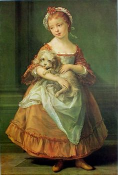 1761 Countess Stanhope Holding A Dog by Pompeo Bartoni