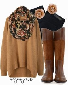 Light brown over size cardigan, colorful scarf and long boots for winters
