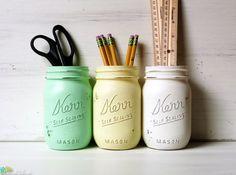 Maison de bocaux Mason peintes dortoir Decor crayon porte Vase pièce maîtresse vert jaune blanc